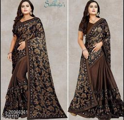 Women's Foil Printed Brown Saree With Blouse Piece