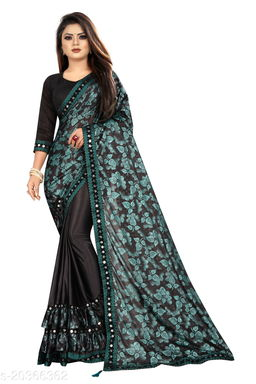 Women's Foil Printed Green Saree With Blouse Piece