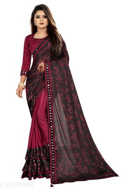 Women's Foil Printed Maroon Saree With Blouse Piece