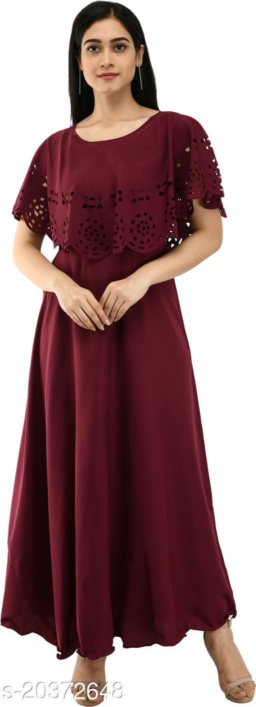 NOBEY Women Gown Maroon Dress
