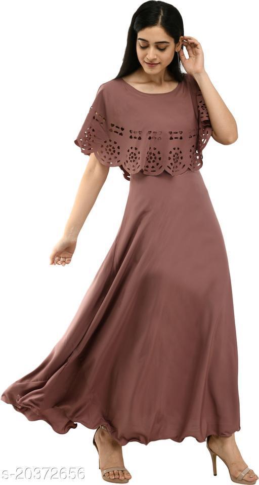 NOBEY Women Gown Brown Dress