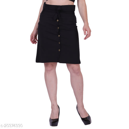MYZAG Women's Versatile Straight Knee Length Black Skirt Toco Lycra Fabric (Free Size)