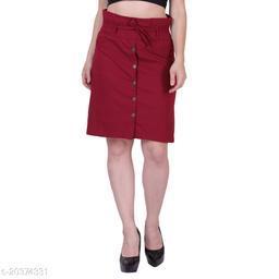 MYZAG Women's Versatile Straight Knee Length Maroon Skirt Toco Lycra Fabric (Free Size)