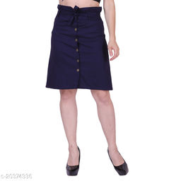 MYZAG Women's Versatile Straight Knee Length Navy Blue Skirt Toco Lycra Fabric (Free Size)