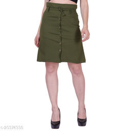 MYZAG Women's Versatile Straight Knee Length Green Skirt Toco Lycra Fabric (Free Size)