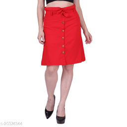 MYZAG Women's Versatile Straight Knee Length Navy Red Skirt Toco Lycra Fabric (Free Size)