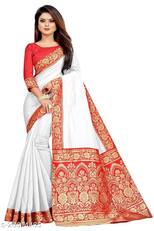 Women's Poly Chanderi Cotton Woven Jacquard Rich Pallu Saree With Satin Silk Blouse