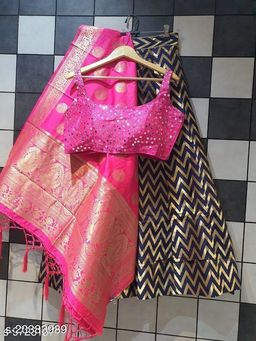Pretty  banarasi lehenga choli & banarasi dupata & stiched mirror work blouse