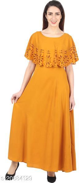 NOBEY  Women Gown MUSTARD Dress