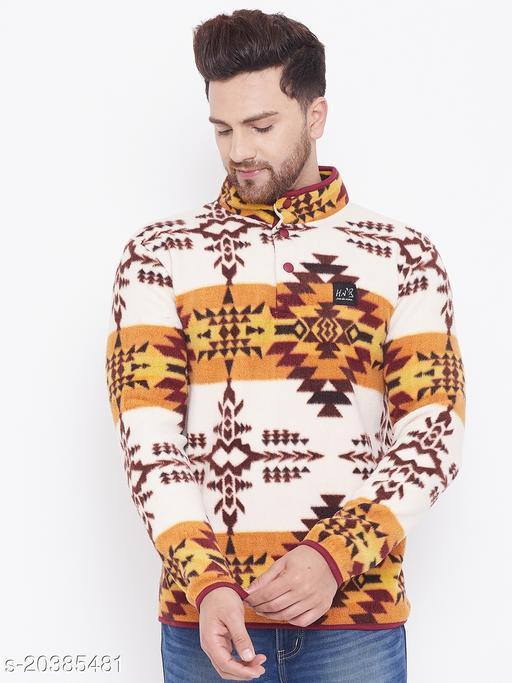 Harbor n Bay's Men Off White Self Design High Neck Sweatshirt
