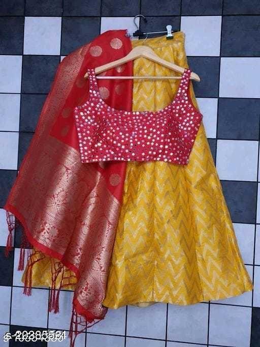 vtm- banarasi lehenga choli & banarasi dupata & stiched mirror work blouse