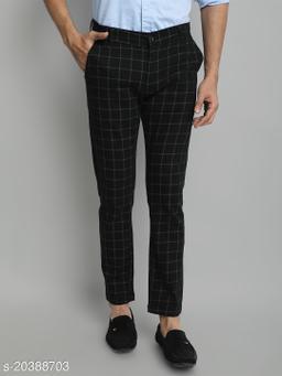 Majestic Man Cotton Lycra Blend Checked Slim Fit Trouser