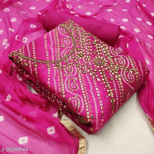 Bandhani print hand work dress material