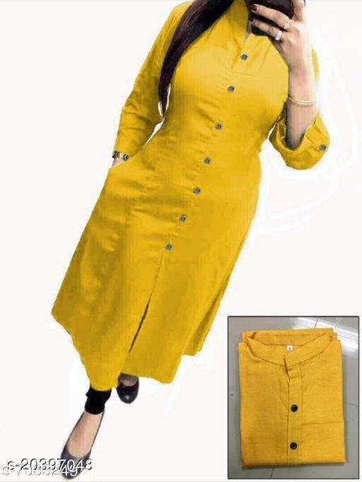 Women Khadi Cotton A-line Solid Yellow Kurti