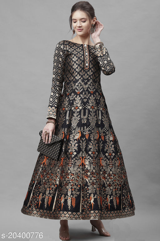Milost Women's Jacquard semi-stitched Anarkali Gown