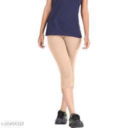 Lets Shine cotton lycra Capris of Beige color Free Size