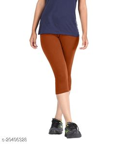 Lets Shine cotton lycra Capris of Brown color Free Size