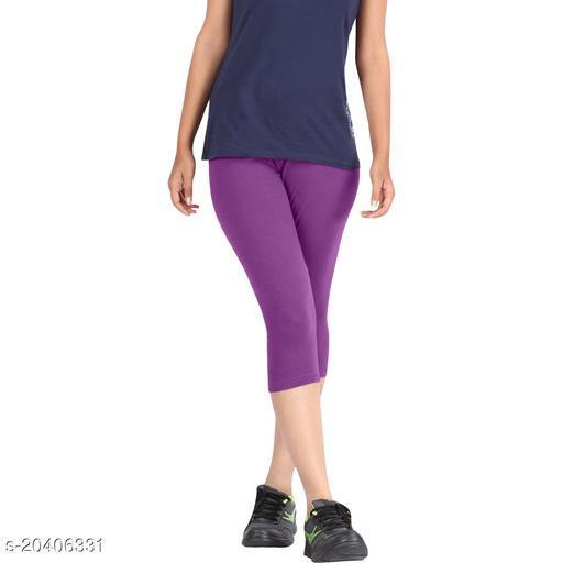 Lets Shine cotton lycra Capris of Purple color Free Size