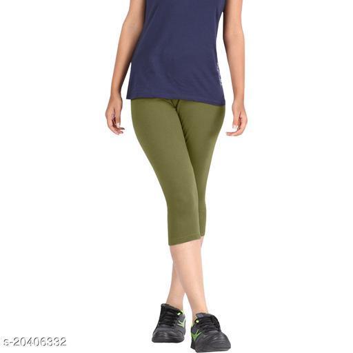 Lets Shine cotton lycra Capris of Mehndi Green color Free Size