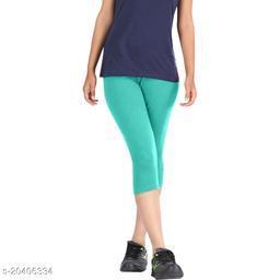 Lets Shine cotton lycra Capris of Sea Green color Free Size