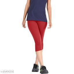 Lets Shine cotton lycra Capris of Red color Free Size