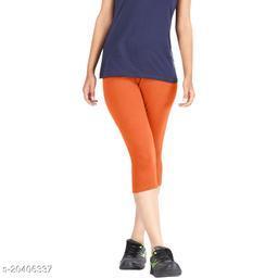 Lets Shine cotton lycra Capris of Orange color Free Size