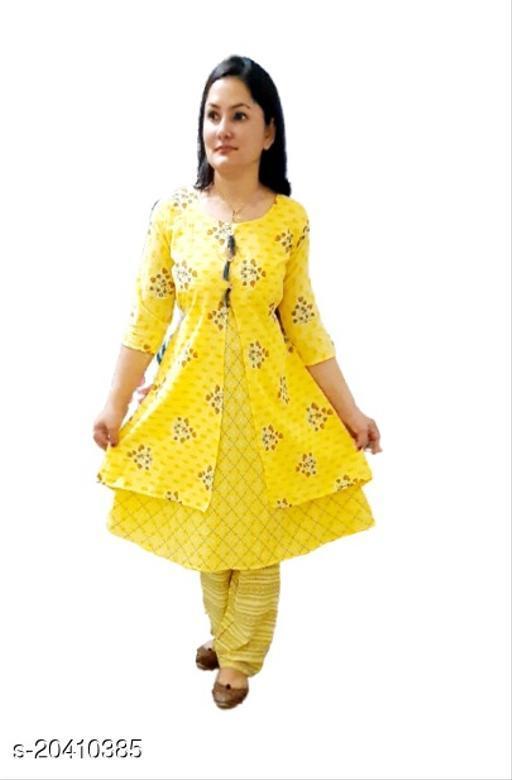 Women Cotton Blend Yellow Kurti