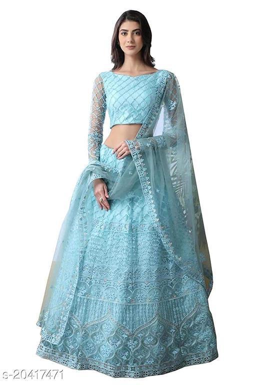 Women's Net Semi-stitched Lehenga Choli (Sky Blue_Free Size)