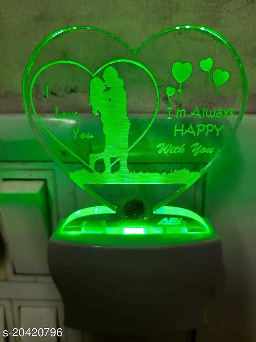 Always Happy With You Shape 3D illution 7 Multicolor Acrylic Night Lamp