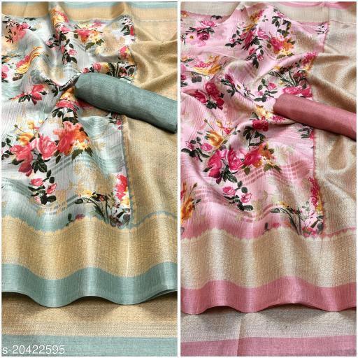 Floral printed khadi blend saree