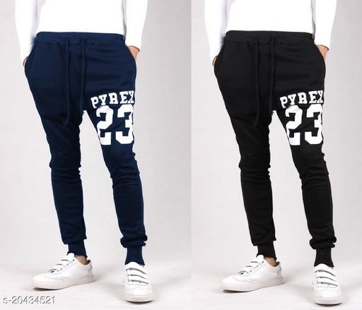 JOGGERS PARK  PRINTED BLACK AND NAVY COMBO RUNNING TRACK PANTS