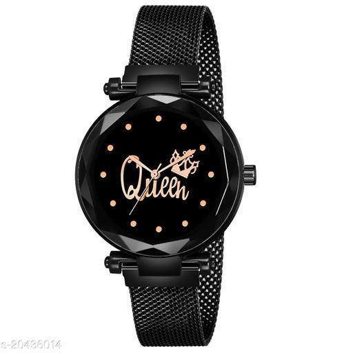 Premium Design QUEEN Dial Magnetic Strap Luxury Black  Analog Watch - For Women / Girls