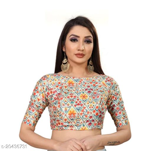 Readymade Printed Polyester Blouse For Stylish Women