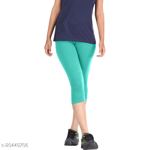 Style best cotton lycra Capris of Sea Green color Free Size & Size 28 to 34