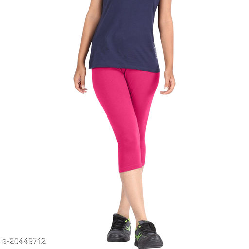 Style best cotton lycra Capris of Pink color Free Size & Size 28 to 34