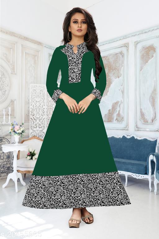 Women'S Printed Green Crepe Dress