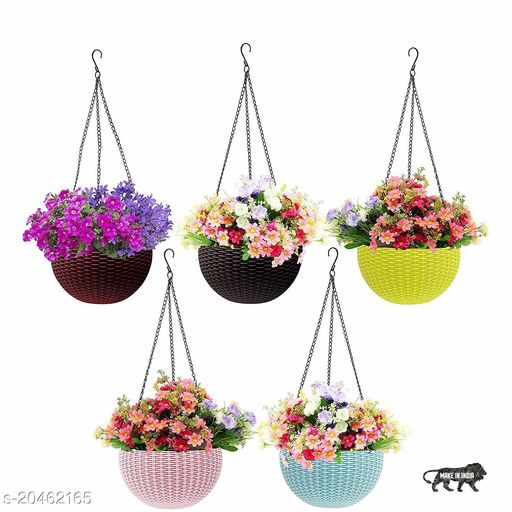 (Pack of 5) Multicolored Rattan Woven Hanging Pots With Metal Hanging Chain  Plastic Hanging Planters   Indoor & Oudoor Hanging Pots (18 x 12 Cm) (Color as per availability)