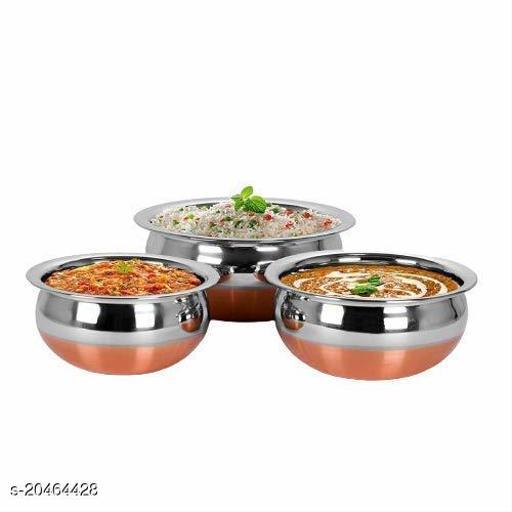 New Stainless Steel Copper Bottom Cooking Serving Pot Biryani Handi Punjabi Handi - 3 Pcs Set