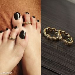 Women's Brass Oxidised Gold Anklets & Toe Rings