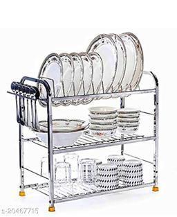Nexus Stainless Steel 3 Shelf Wall Mount Kitchen Utensils Rack | Dish Rack with Plate & Cutlery Stand | Modular Kitchen Storage Rack | Kitchen Organizer (18x18 inches)