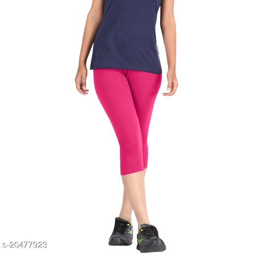Style Pitara best cotton lycra Capris of Pink color Free Size & Size 28 to 34