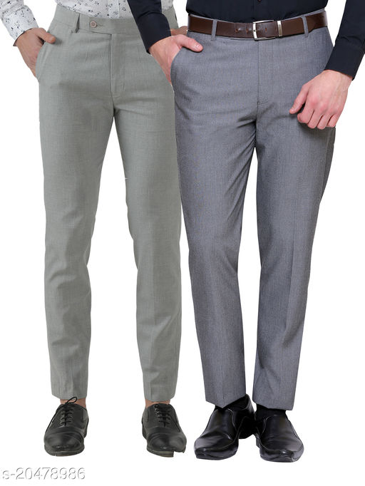 Inspire Pack Of 2 Formal Trousers (Steel Grey & Light Grey)