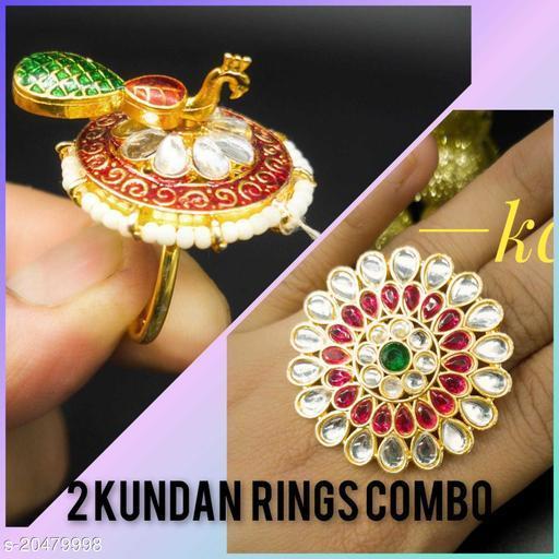 Combo of 2 Kundan Finger Ring
