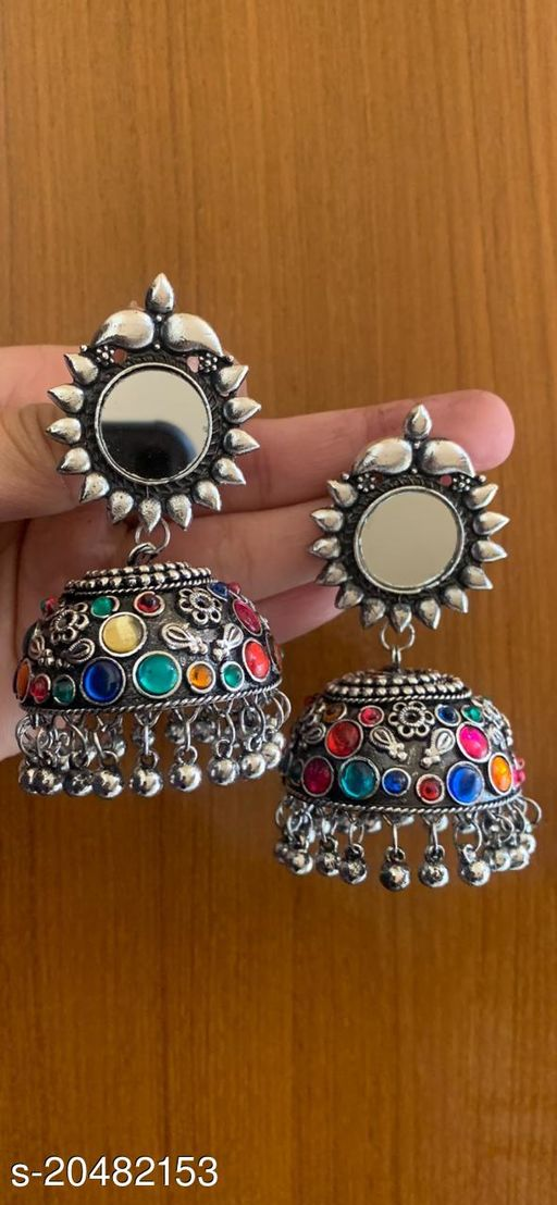 Designer Traditional Oxidized Silver Afghani Style Big Mirror Jhumki silver Earrings for Women and Girls