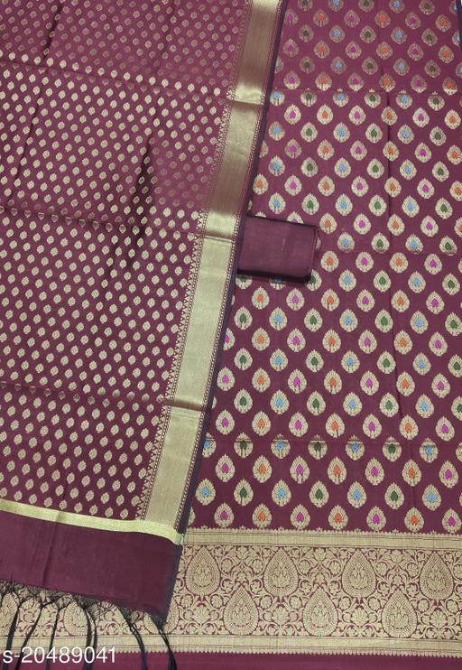 Fashionable Unstitch Banarsi Multi Mina Silk Suit (23Brown)