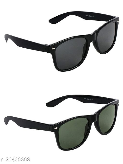 GLAMORSTYLWayfarer Unisex Sunglasses Combo with UV Protection (Black and Green, Free Size)