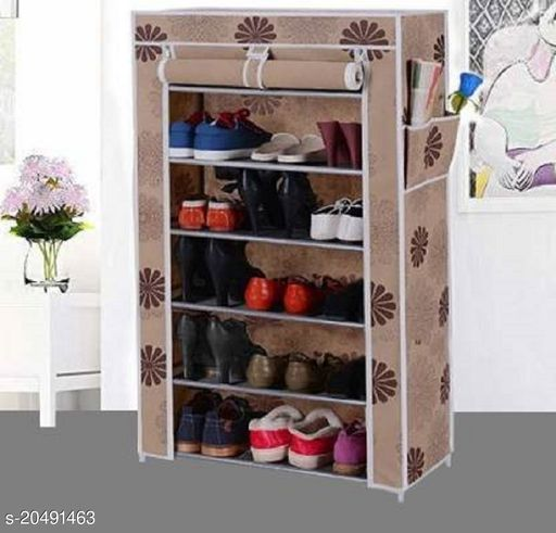 Foldable Shoe Stand For Storage 6 Layers(Beige)