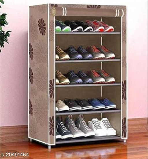 Foldable Shoe Stand For Storage 5 Layers(Beige)