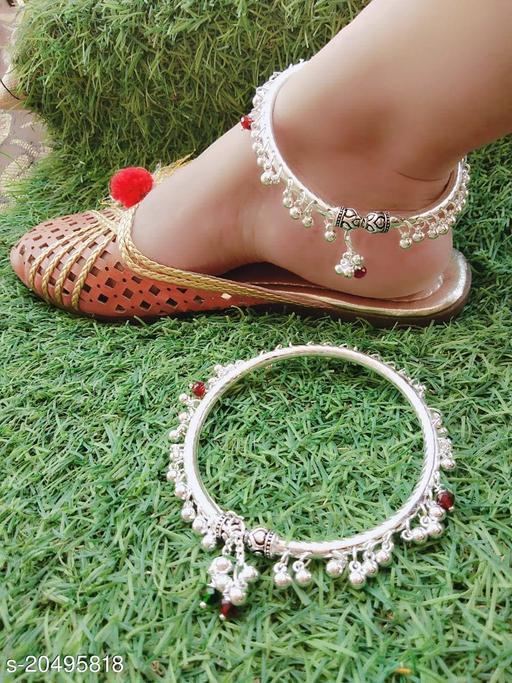 Brass Designer Silver Plated Anklets