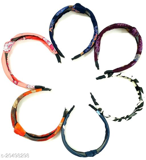 BEAUTY  Beuty Multi Color Hair Accessories Korean Style Solid Fabric Knot with Tape Plastic Hairband Headband for Girls and Woman In Multi Coloured ( Pack OF 6)